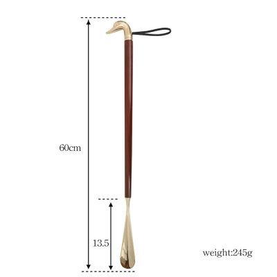 Shoehorn Brass Wood Goose Head