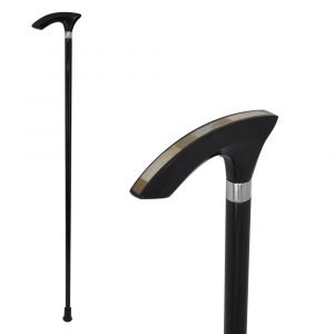 rubber wood and horn chips walking cane stick